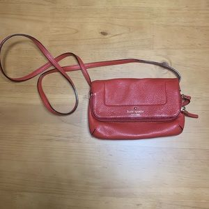 Kate space red leather crossbody purse